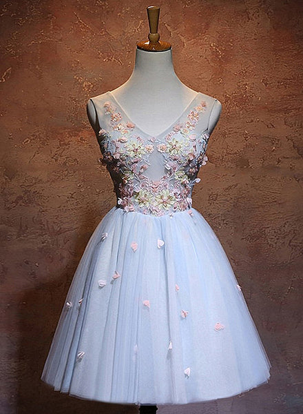 Blue Flowers A-line Short Tulle Wedding Party Dress, Blue Homecoming Dress