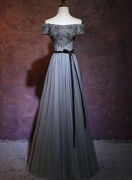Charming Grey A-line Off Shoulder Prom Dress, Floor Length Formal Dress