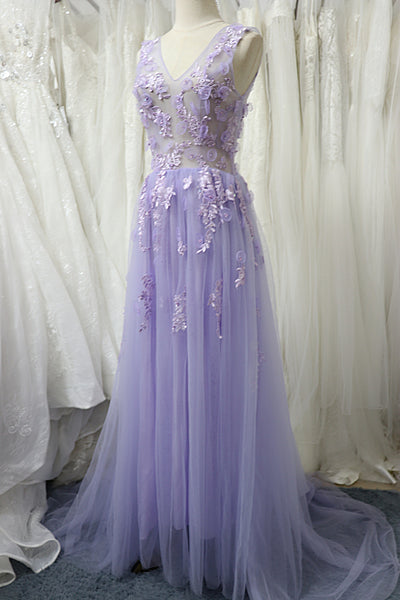 Charming Tulle Floral Light Purple Long Party Dress, A-line Prom Dress 2021