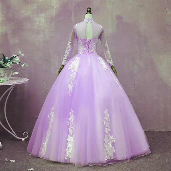 Light Purple Tulle Long Sleeves Applique Sweet 16 Gown, Beautiful Evening Dress Formal Dress