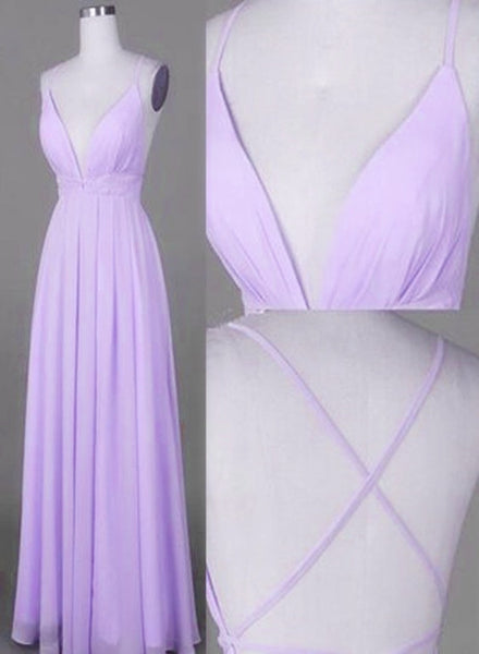 Lavender Chiffon Cross Back V--neckline Prom Gowns, Chiffon Fashion Junior Prom Dress