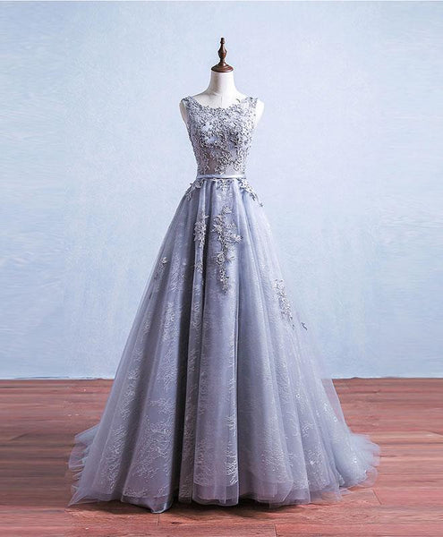 Grey Tulle and Lace A-line Charming Gowns, Woman Formal Gowns, Handmade Party Dresses