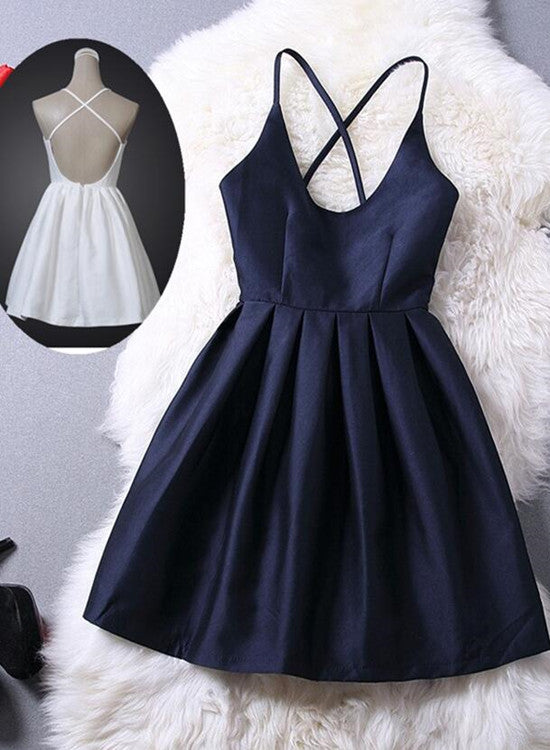 Lovey Blue Graduation Dresses Short Navy Blue Women Dresses Cross