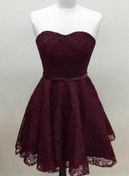 Maroon Homecoming Dresses, Lace Short Prom Dresses, Party Dresses, Prom Dress 2018