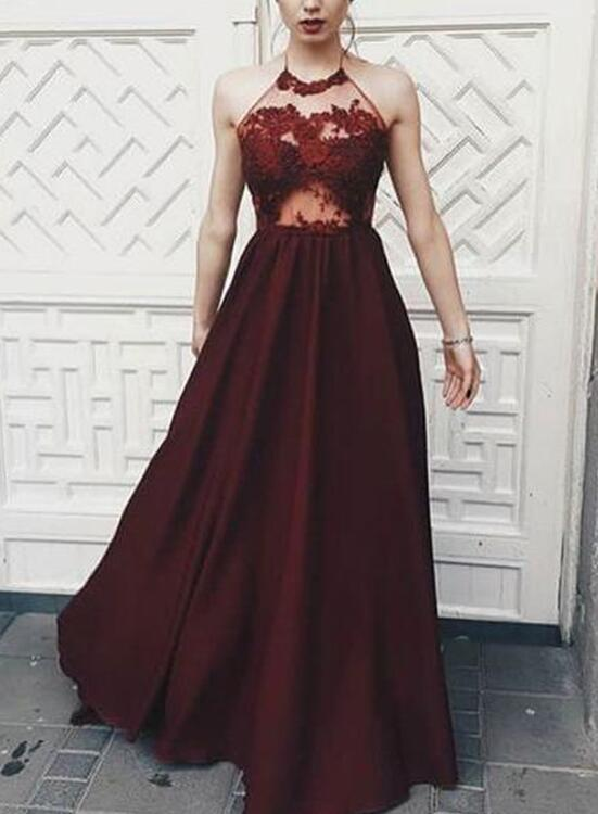 Beautiful Halter Maroon Long Party Dresses Charming Formal Dress