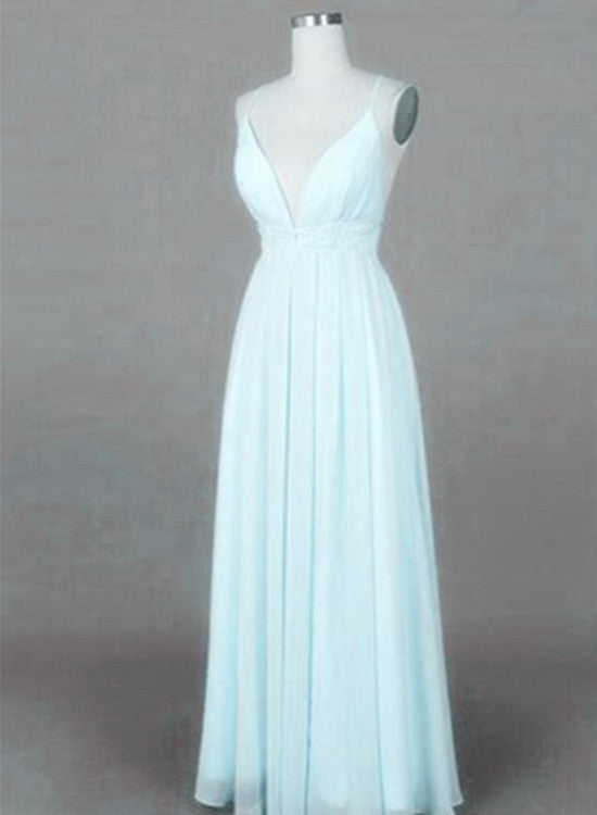 Mint Blue Straps Chiffon Long Party Dress, Prom Dress 2018, Simple ...