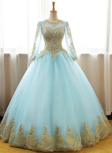 Mint Blue Long Sleeves with Gold Lace Long Party Dress, Tulle Round Neckline Sweet 16 Dress