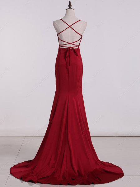 Red High Waist Straps Mermaid Gown, Wine Red Formal Dress, Cross Back Prom Dress