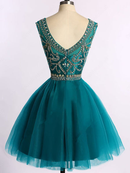 Charming Beaded V-neckline Green Homecoming Dress, Sexy Party Dress