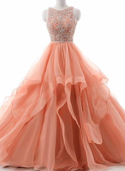 Beautiful Organza Puffy Open Back Prom Dresses, Organza Formal Gowns
