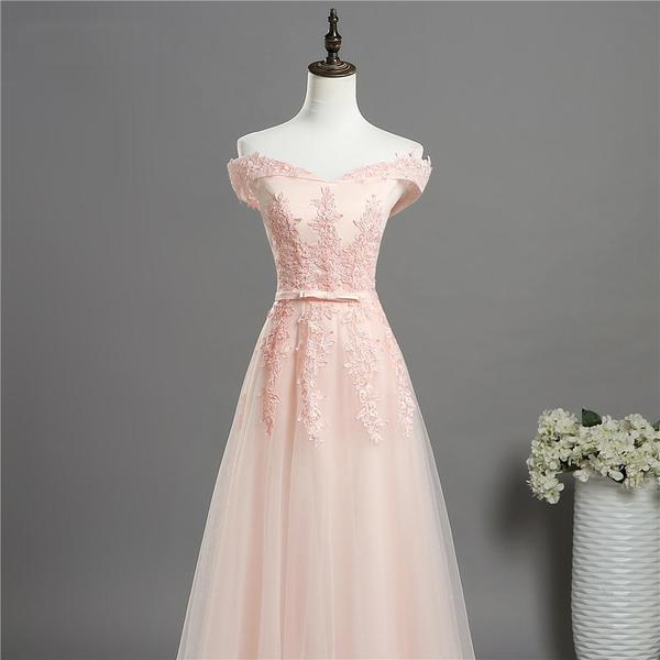Light Pink Sweetheart Lace Applique Long Party Dress, Pink Bridesmaid Dress