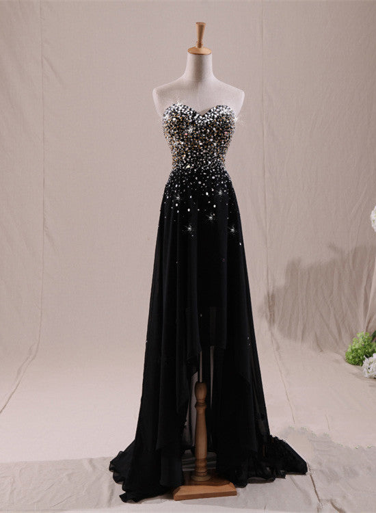 Beautiful Black Beaded High Low Prom Dress 2018, Black Formal Dress ...