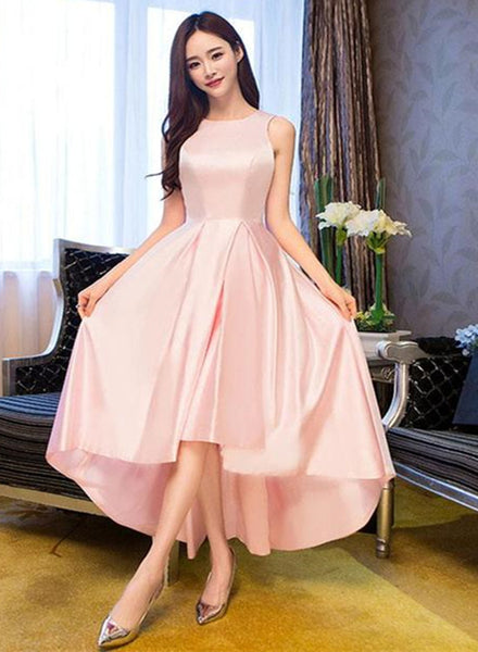 Light Pink Round Neckline High Low Simple Party Dress, Pink New Style Homecoming Dress 2019