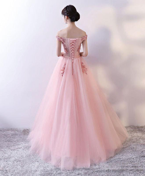 Beautiful Pink Off Shoulder Tulle Party Dress 2019, Long Formal Dresses