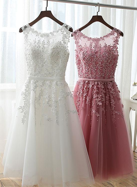 Pink Lace Applique Short Prom Dresses, White Graduation Dresses ...