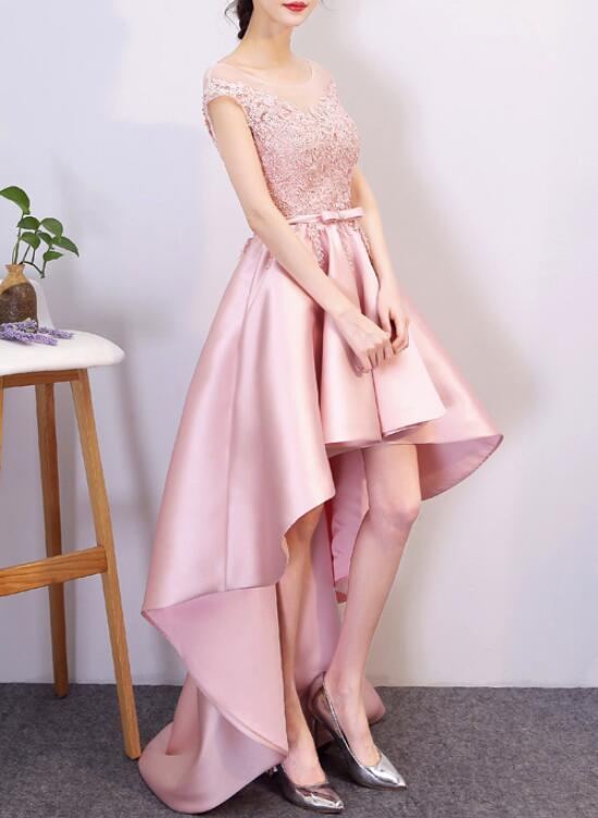 Pink Satin High Low Lace-up Formal Dress, Pink Prom Dress ...
