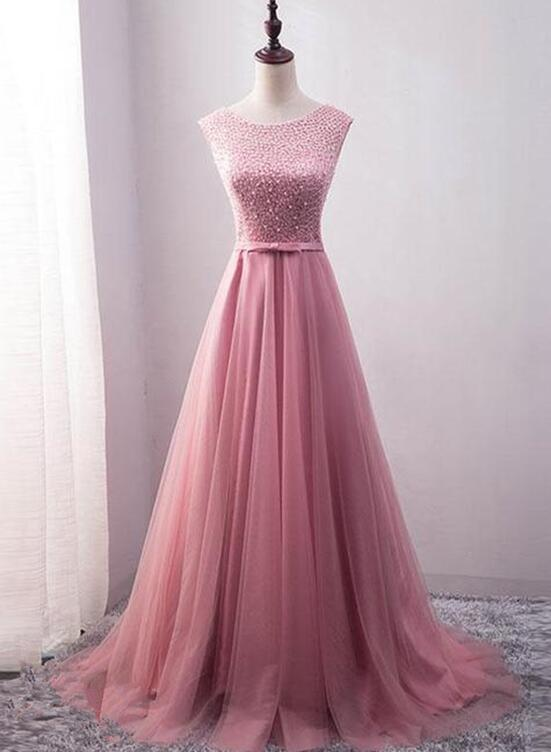 Pink Stunning Tulle Beaded Long Party Gown Pink Formal Dress 2018
