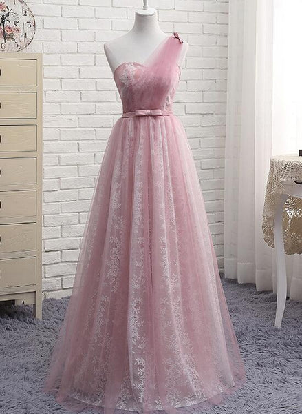 Pink One Shoulder Lace Elegant Bridesmaid Dress, Pink Bridesmaid Dress, Party Dress 2018