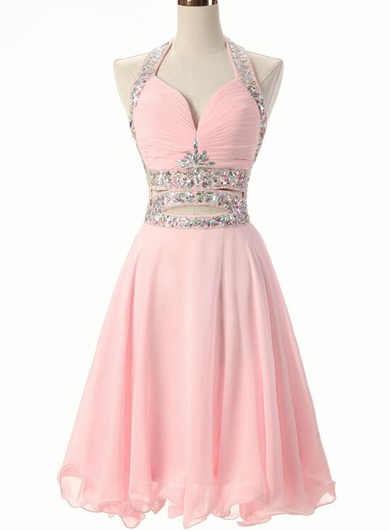 Pink Beaded Short Chiffon New Style Formal Dress 2018
