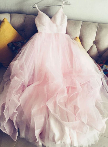 Pink Princess V-neckline Prom Gown, 2018 Formal Dresses, Lovely Straps Party Dresses