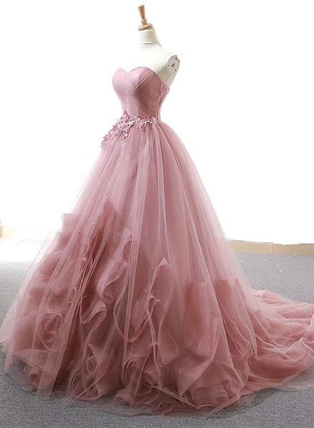 Dark Pink Sweetheart Gorgeous Formal Gown, Pink Tulle Party Dresses, Prom Dresses