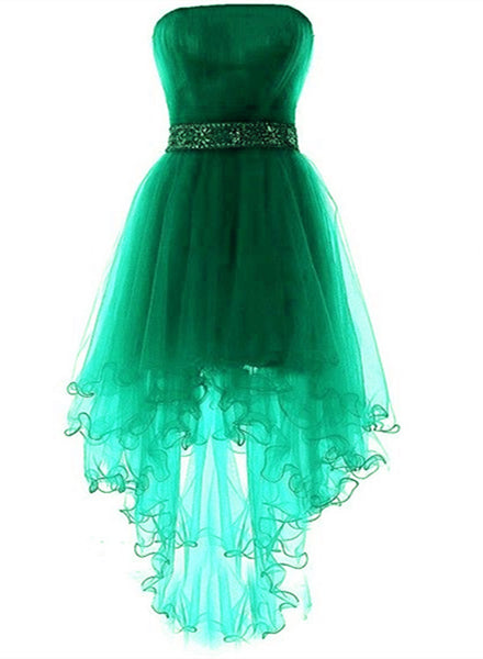 Green High Low Lovely Beaded Tulle Party Dress, Cute Junior Prom Dress 2019