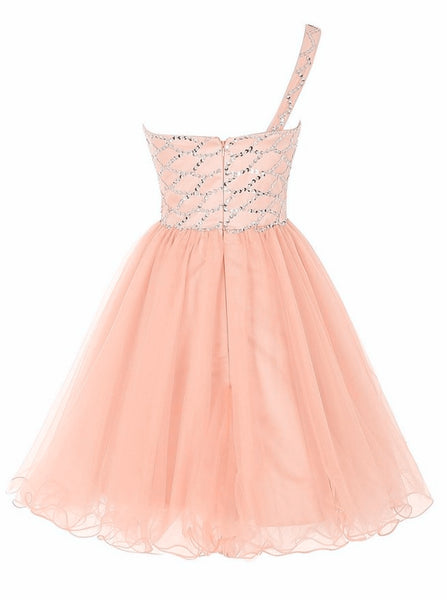 Pink Cute Short Party Dress,  One Shoulder Short Dresses, Pink Beaded Tulle Homecoming Dress