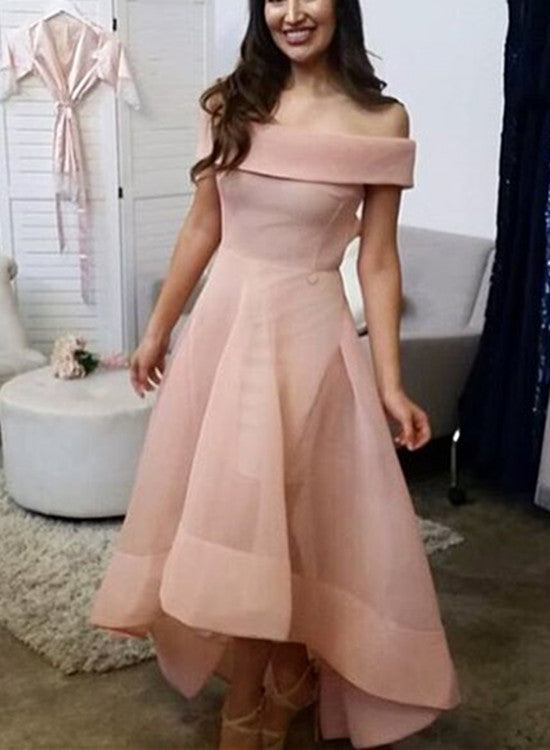 Pink Organza High Low Wedding Party Dress 2018, Lovely Formal Dress ...
