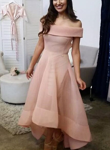 Pink Organza High Low Wedding Party Dress 2018, Lovely Formal Dress