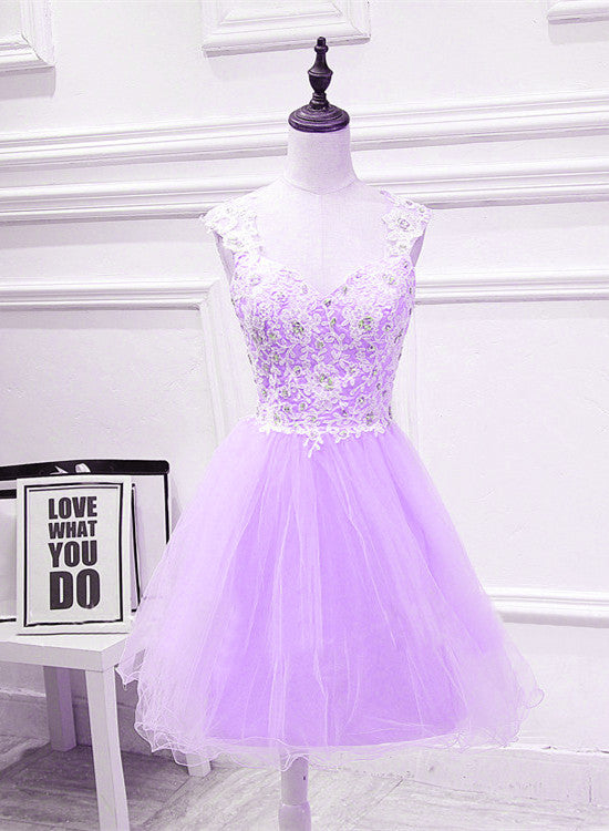 Cute Lavender Teen Girls Formal Dresses Beautiful Party Dress With