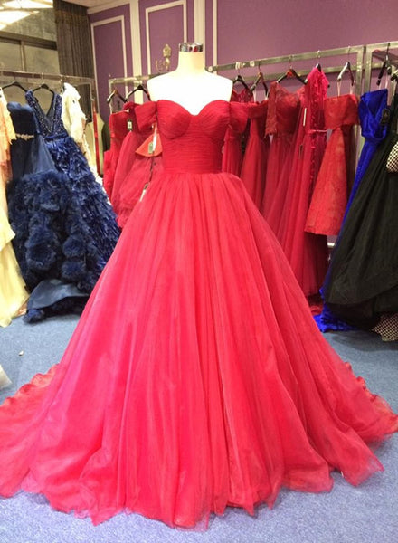 Gorgeous Red Formal Gowns, Red Tulle Prom Dresses, Party Gowns 2018