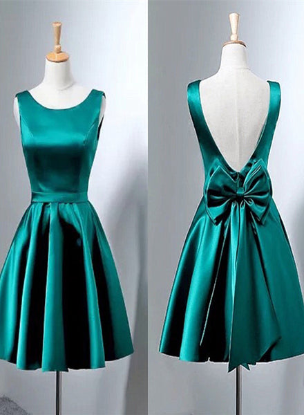 dark green satin short party dress