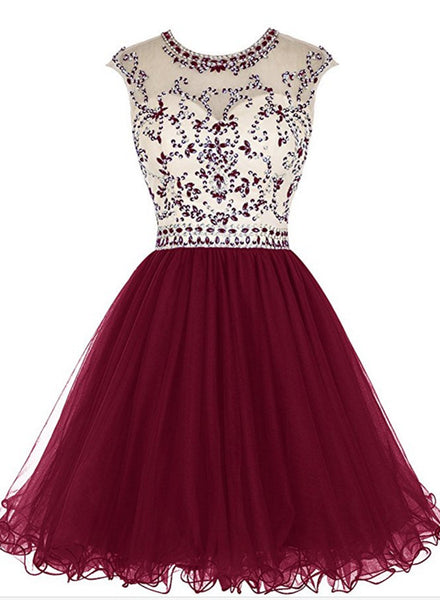 Tulle Beaded O-neckline Short Homecoming Dresses 2018, Cute Party Dresses, Short Prom Dresses