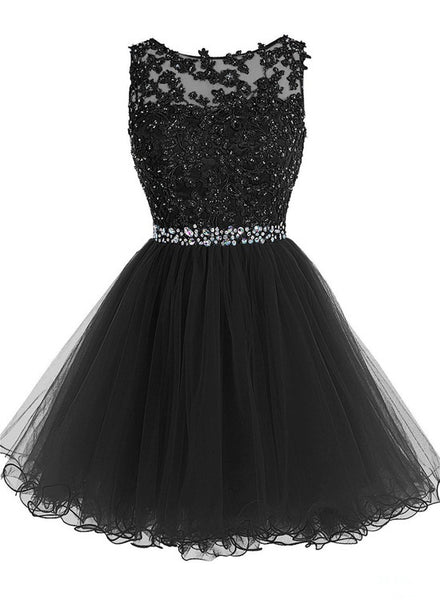Black Cute Tulle Homecoming Dresses, Round Homecoming Dresses, Short Party Dress 2018