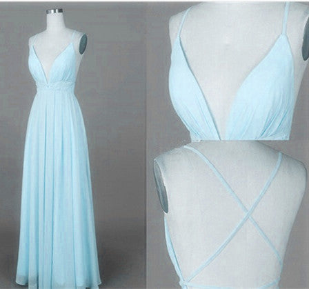 Mint Blue Straps Chiffon Long Party Dress, Prom Dress 2018, Simple V-neckline Formal Dresses