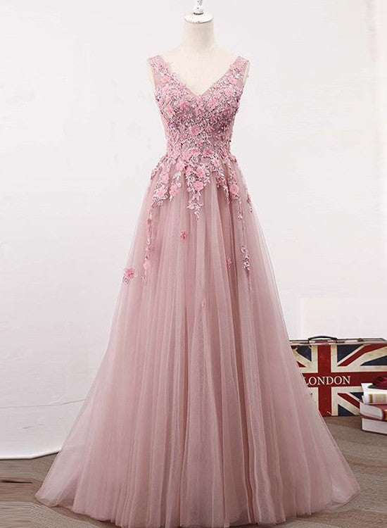Pink Tulle Long Simple 2018 Formal Dress Light Pink Gowns Junior