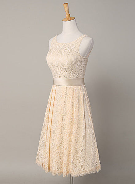 Lovely Lace Champagne Short Wedding Party Dresses,Sleeveless Bridesmaid Dress with Sash