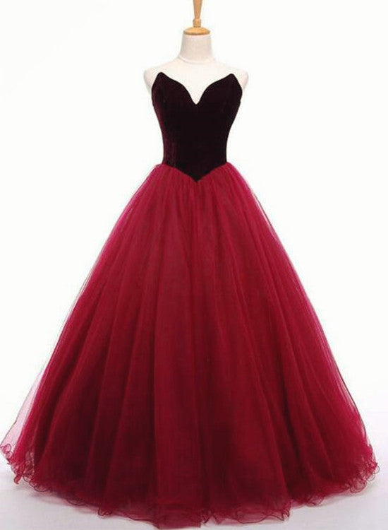 Tulle and Velvet Burgundy Long Party Gown, Tulle Gowns, Junior Prom ...