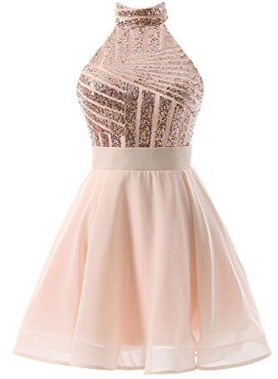 3eb9b3f25f02 Beautiful Short Pink Sequins Knee Length Homecoming Dresses