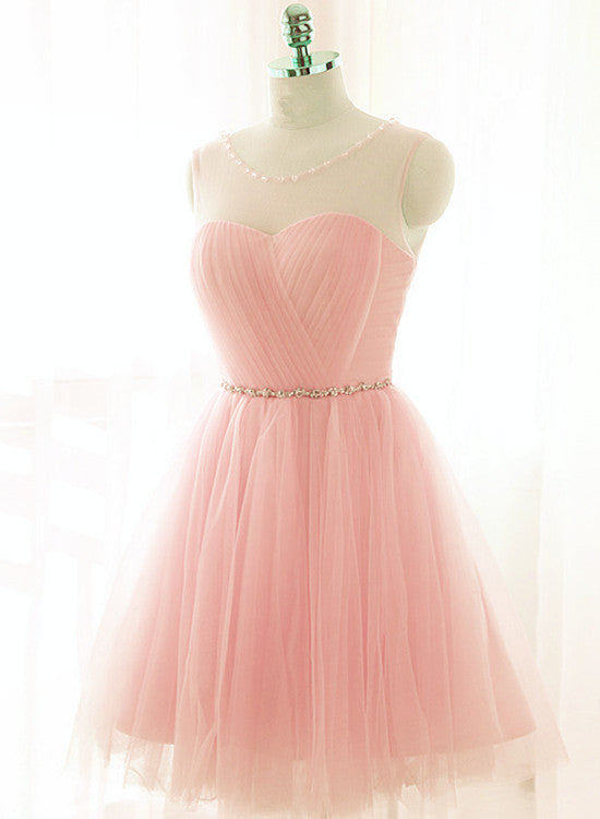 Lovely Pink Short Tulle Beaded Graduation Dresses, Pink Knee Length ...