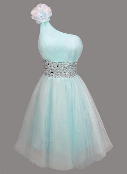 Beautiful Light Blue One Shoulder Homecoming Dresses, Blue Party Dress, Short Junior Party Dress