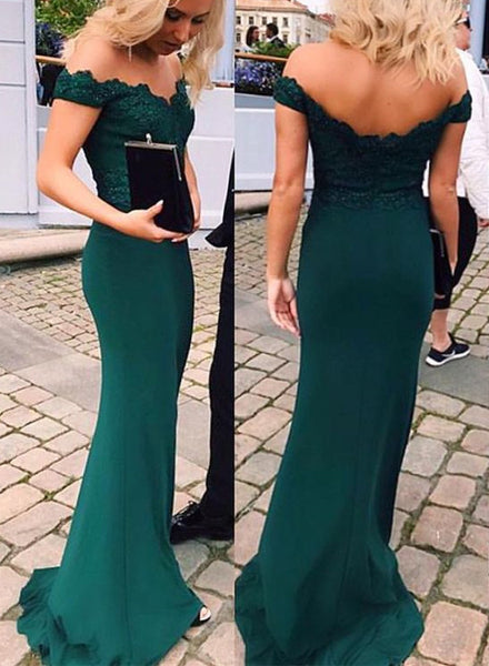 Pretty Mermaid Long Off Shoulder Prom Dresses 2018, Prom Gowns, Dark Green Prom Dresses