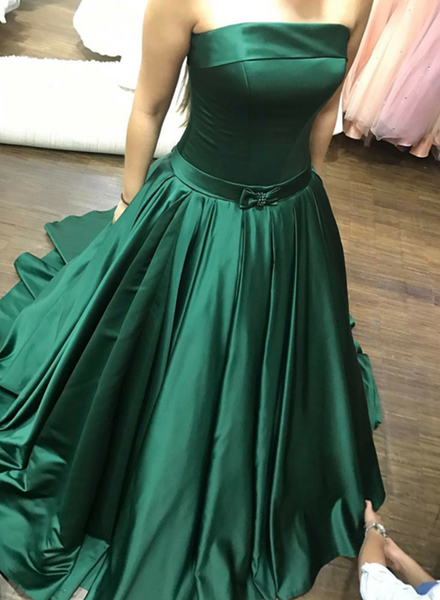 Gorgeous Green Party Dresses, Green Prom Gowns, Satin Evening Dresses