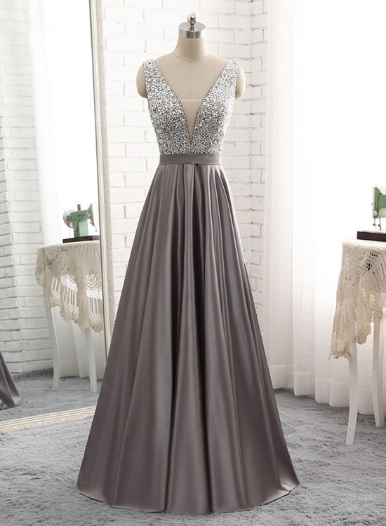 Sparkle Beaded Top With Grey Satin Skirt Long Party Dresses Grey
