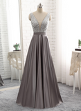 Sparkle Beaded Top with Grey Satin Skirt Long Party Dresses, Grey Prom Dress 2018, Formal Dresses