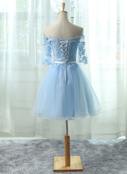 Light Blue Charming Homecoming Dresses, Lovely Short Prom Dresses, Formal Dresses