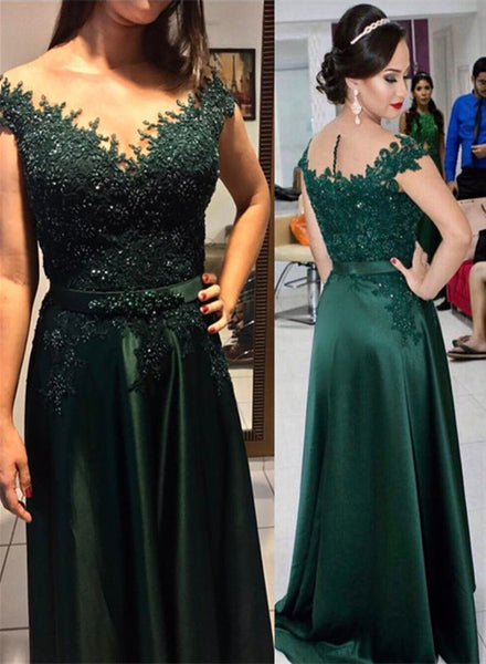 Green Satin and Applique A-line Evening Gowns, Green Beaded Long Formal Dresses, Prom Dress 2018