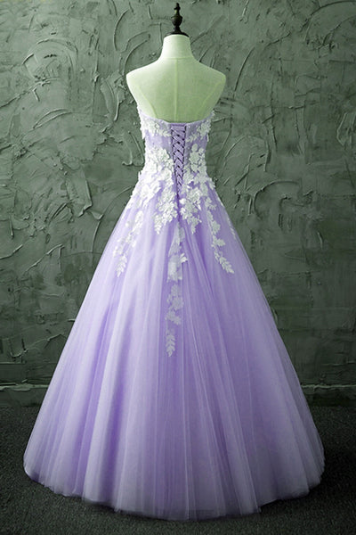Lovely Light Purple Tulle Sweetheart Prom Gown, Tulle Sweet 16 Dresses