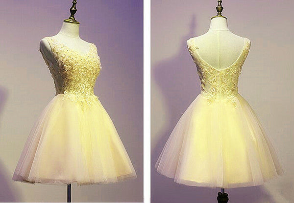 Lovely Tulle Yellow V-neckline Short Party Dress with Applique, Short Prom Dress 2020
