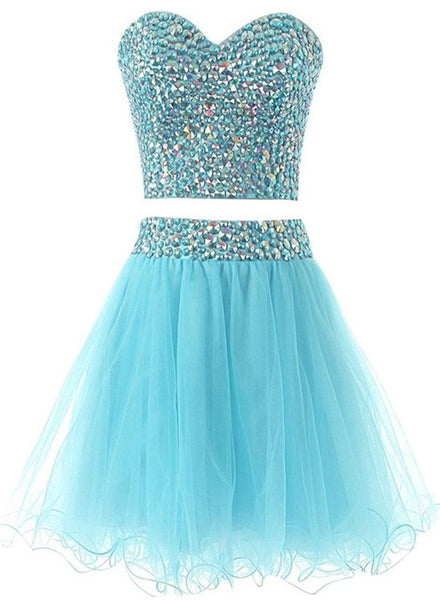 Light Blue Sparkle Beaded Two Piece Homecoming Dresses, Beautiful Short Party Dress